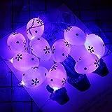 JKKJ Huevo de Pascua pintado con 10 luces LED, funciona con pilas, multicolor,...