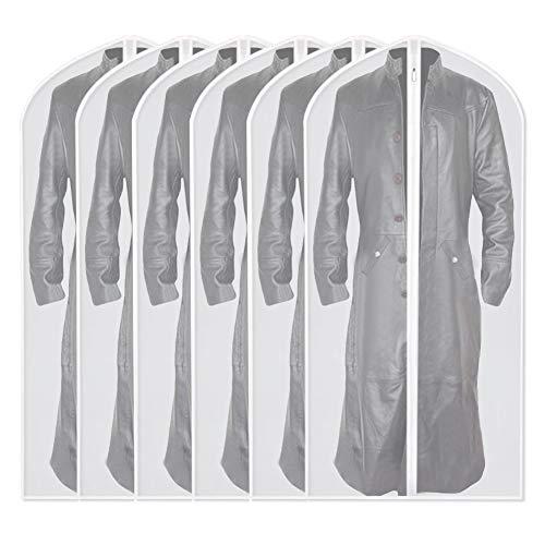 UOUEHRA Garment Bag Clear Plastic Breathable Moth Proof Garment Bags Cover for Long Winter Coats Wedding Dress Suit Dance Clothes Closet Pack of 6 (60 x 140cm/24 x 55'')