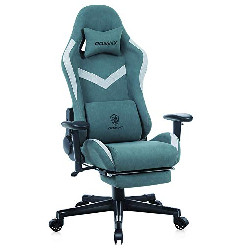Dowinx Gaming Stuhl Bürostuhl mit Massage-Lendenwirbelstütze, atmungsaktiver Stoff hohe Rückenlehne Verstellbarer Drehstuhl mit Fußstütze Grün