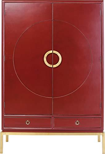 Kare Design Schrank Disk Rot, großer, dunkelroter Kleiderschrank, Hochkommode, Holzschrank, Schrank mit 2 Türen und 2 Schubladen für Wohnzimmer, (H/B/T) 180x120x55cm