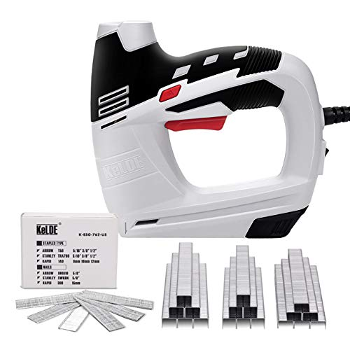 KeLDE Electric Staple Gun Kit, 120V Corded Power Stapler Set, Includes 900pc T50 Staples and 300pc 15mm Brad Nails