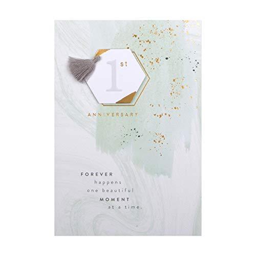 Hallmark - Tarjeta de felicitación de primer aniversario de boda, diseño de etiqueta 3D