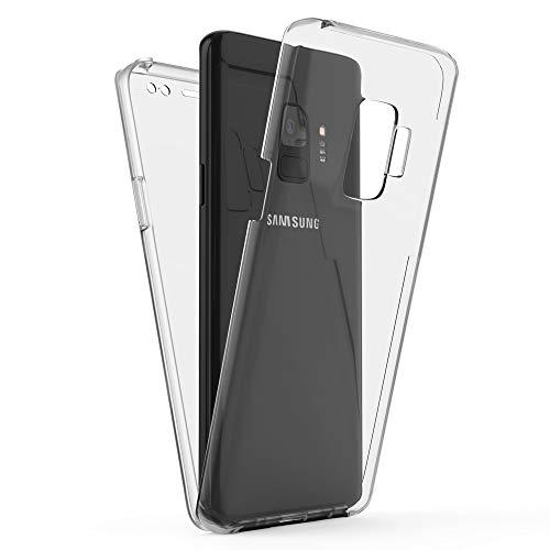 Kaliroo Handyhülle 360 Grad kompatibel mit Samsung Galaxy S9, Full-Body Schutzhülle Hardcase hinten und Bildschirmschutz vorne mit Silikon Bumper, Slim Full-Cover Hülle Komplett-Schutz Hülle - Transparent