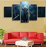 WLHZNB Leinwanddrucke Moderne Gemälde Wandkunst 5 Stück Witcher 3 Hd Druckt Poster Leinwand Hauptdekoration (Größe 1) Kein Rahmen