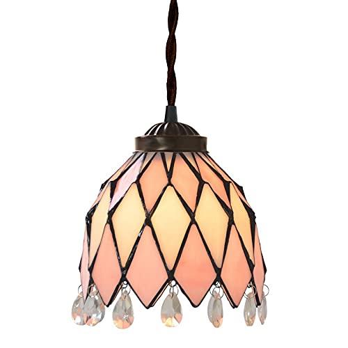SLJJC Mini Tiffany Estilo Colgante luz de 7 Pulgadas Simplicidad mediterránea de Vidrio Manchado con Colgante de Cristal lámpara de Techo Colgante para salón Comedor Dormitorio E27 110V-240V