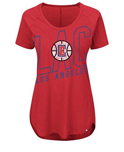 VF LSG NBA Los Angeles Clippers Damen Fanatic Force Short Sleeve U-Ausschnitt Größe S, sportliches Rot
