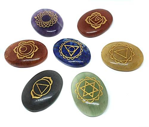 Eclectic Shop Uk Ovaal Gesneden Chakra Stone Set Gegraveerde Genezing Reiki Energie Geladen Met Tas