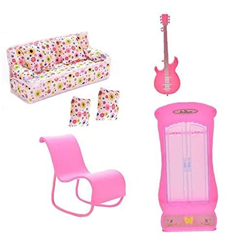 Casa de muñecas Muebles Muñecas Muñecas Muebles Accesorios Mini Sofá Sofá Guitarra Armario Armario Rocking Silla Cojines Accesorios para Juguetes Muñecas 6pcs