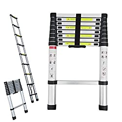 8.5FT Extendable Telescoping Ladder: The telescopic ladder is made of high-quality waterproof and corrosion-resistant aluminium alloy, with a sturdy frame and non-slip rungs. Max Loading Weight: 150kg (330lbs). Lightweight & Portable: The closed size...