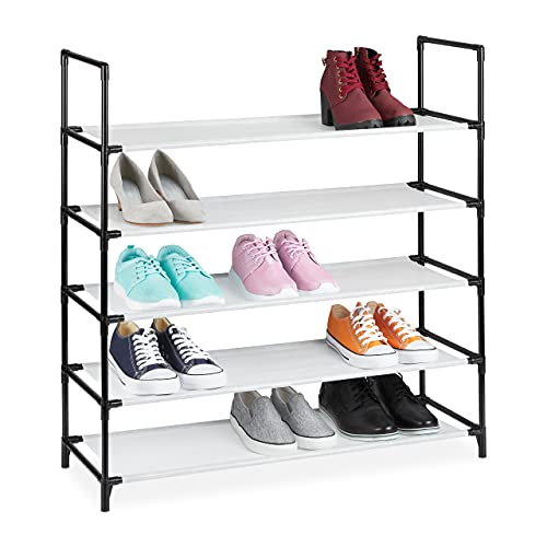 Relaxdays Zapatero XL, 5 Niveles, para 20 Pares de Zapatos, plástico, 90,5 x 87,5 x 30 cm, Color Blanco
