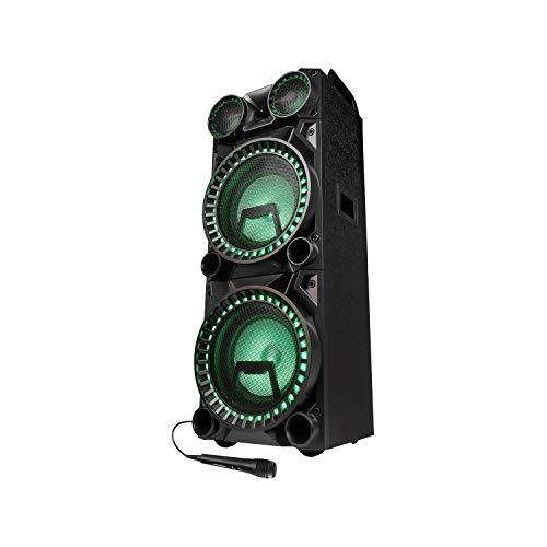 MEDION X64050 Party-Soundsystem mit Mikrofon (Partylautsprecher Karaoke, Bluetooth 2.1, Kompaktanlage, 1000 Watt, Farbige LED, USB, AUX, SD-Kartenleser, Mikrofonanschluss, Gitarrenanschluss)