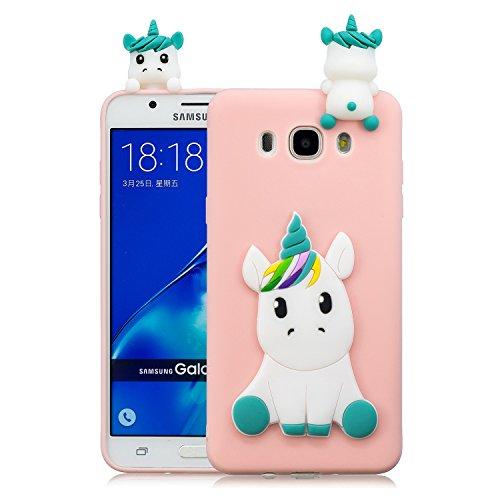 HopMore Funda Samsung Galaxy J5 2016 Silicona Motivo 3D Divertidas Unicornio Panda Bonita TPU Gel Ultrafina Slim Case Antigolpes Cover Protección Dibujo Gracioso Carcasa para Samsung J5 2016 - Rosado