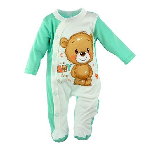 Baby Strampler | Jungen | Langarm | 100% Baumwolle | Overall | Spielanzug | Einteiler | Spielanzug | Body | Strampelanzug | Babykleidung | Spieler (74, Weiß Blau Bär)