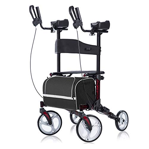 BEYOUR WALKER Upright Rollator Walker,Stand Up Rollator Walker with Seat and Backrest, Flame Red (Small)