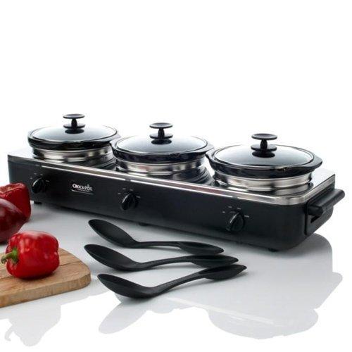 Rival SCRBC909-BS Trio 3-Quart Slow Cooker Crock Pot Crock Buffet Server, Black/Stainless