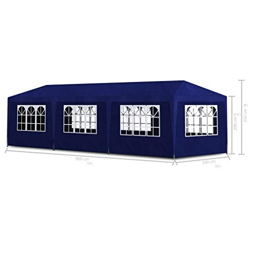 Practical garden tent made of polyethylene blue, outdoor gathering tent 9 x 3 x 2.55 m, PE roof and side panels with decorative windows.