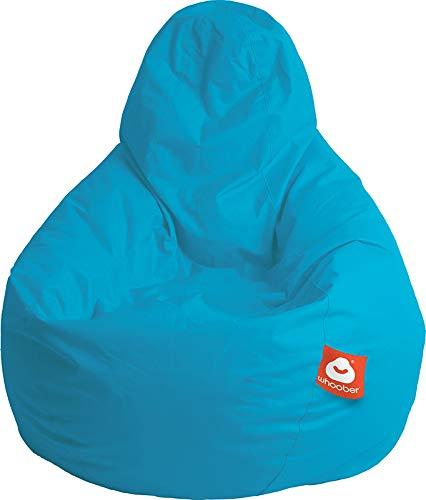 """WHOOBER \""""Barça Outdoor-Sitzsack Türkis - Ø 84 cm (Höhe: 146 cm) - für Drinnen & Draußen - komfortable Birnenform/Tropfenform - Waschbar - Langlebige Qualität"""
