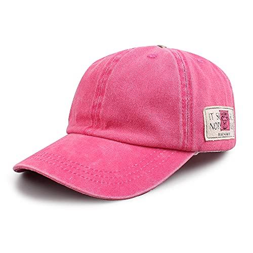 Pesaat Enfant Chapeau de Soleil Printemps Été Bébé Casquette pour Fille Garçon Coton Lavé Chapeau à La Mode 2 à 6 Ans (Rose Rouge)