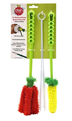 Long Bottle Brush Cleaner Set (3-in-1) and Straw Brushes | Thick and Thin Dish Brush Set with Straw Cleaners for Washing Baby Bottle, Water Bottles, Mugs
