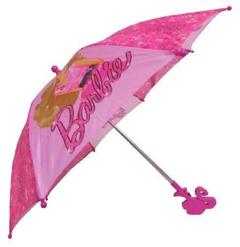 Barbie Girl's Pink Umbrella with 3D Handle