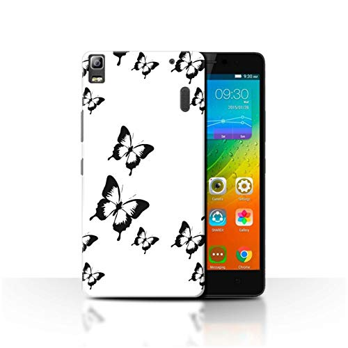 Stuff4 Phone Case for Lenovo K3 Note/K50-T5 Black Fashion Cartoon Butterfly Transparent Clear Ultra Slim Thin Hard Back Cover