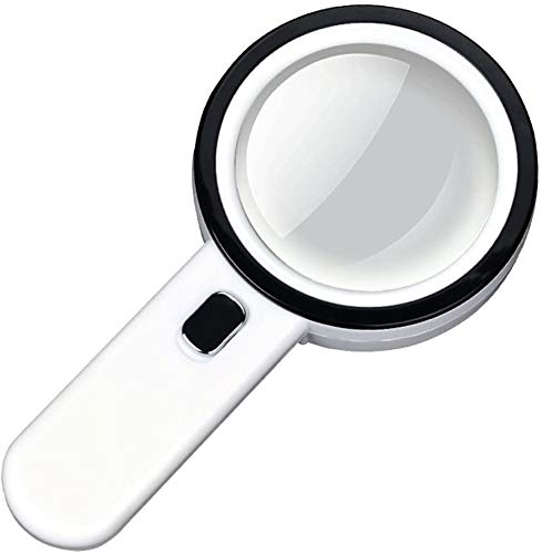 Hoge vergroting HD vergrootglas Magnifier Gift Box sterke vergroting LED Light Optics handloep met licht 30x 100MM HD Child Student Oude Mensen lezen Repair Identificatie Portable Vergrote Mirror Thui