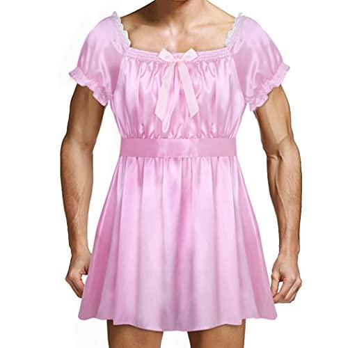 inhzoy Herren Dessous-Crossdresser Sissy Kleider Spitze Satin Nachtkleid Reizwäsche Männer Dienstmädchen Maid Kostüm Outfit Cosplay Rosa XXL