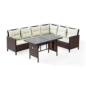 SVITA Madison & Monroe Polyrattan Ecksofa Rattan-Lounge Esstisch Gartenmöbel-Set Sofa Garnitur Couch-Eck (Abdeckung, ca…