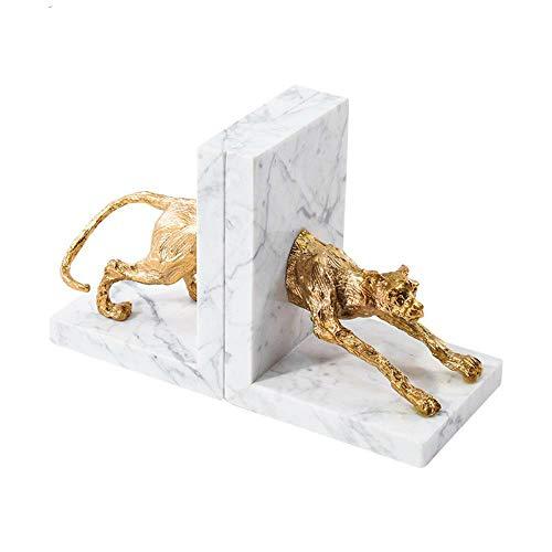 Elegante abstracte gouden koperen marmeren Leopard boekensteun decoratie creatieve koperen Ornament woonaccessoires, beste cadeau