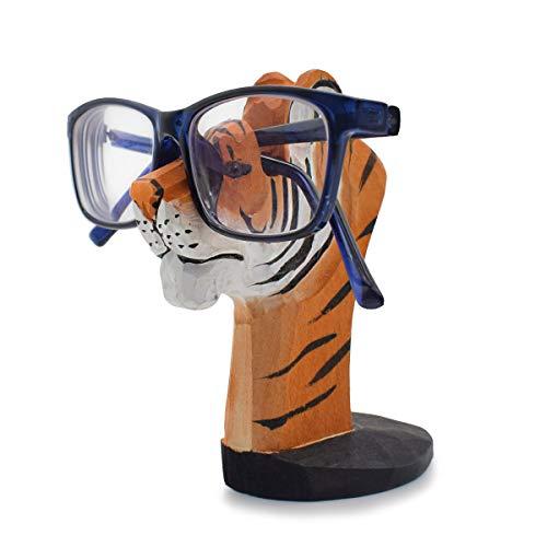 VIPbuy Brillenhalter Holz Tier -förmigen Hand Geschnitzt Sonnenbrillenhalter Ornament für Kinder Männer Frauen Geschenk (Tiger)