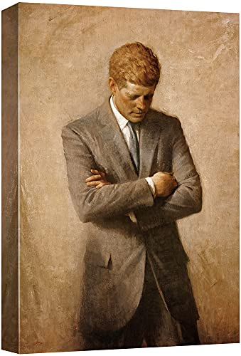 Portrait of John F. Kennedy - Inspirational Famous People Series   Giclee Print Canvas Wall Art. Ready to Hang - 16'x24'