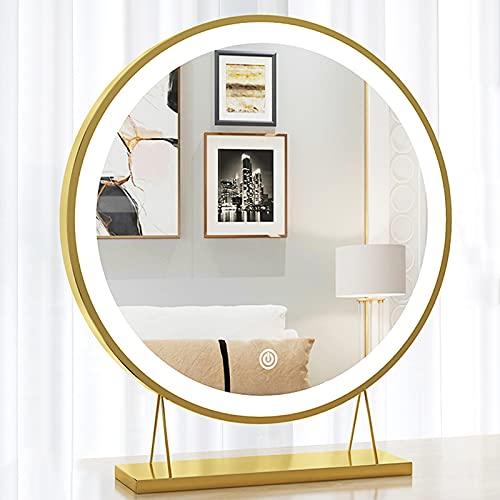 DSJGVN Espejo De Maquillaje LED Inteligente De Sobremesa, Espejo De Maquillaje Redondo Montado En La Pared, Espejo De Tocador para...