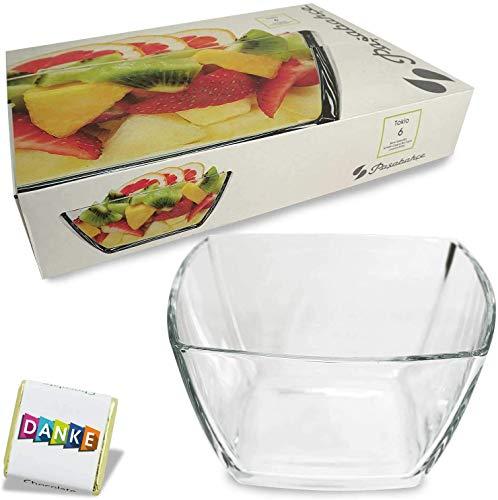 Pasabahce Tokio Glasschalen   Salatschüssel aus Glas, stilvolle Glasschale, stylische Dekoschale, 19,8 cm x 19,8 cm x 5,5 cm, Party Knabberschale, lebensmittelechte, transparente Glas Bowle (6)