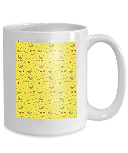 N\A Taza Divertida, Taza de cerámica, Regalo novedoso para cumpleaños y Navidad Cara Sonriente Linda Cara de Amor Emoticonos Emoji Estilos Planos Impresiones en Stock