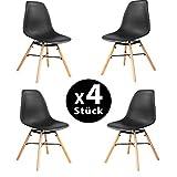 MIFI 4er Set Esszimmerstühle/4 x Set Wohnzimmerstuhl Esszimmerstuhl Lounge-Stühle im Modernen Design Bürostuhl Kunststoff Chair Eiffel Eiffelturm Sitz aus Polypropylen und Beine aus Buchenholz