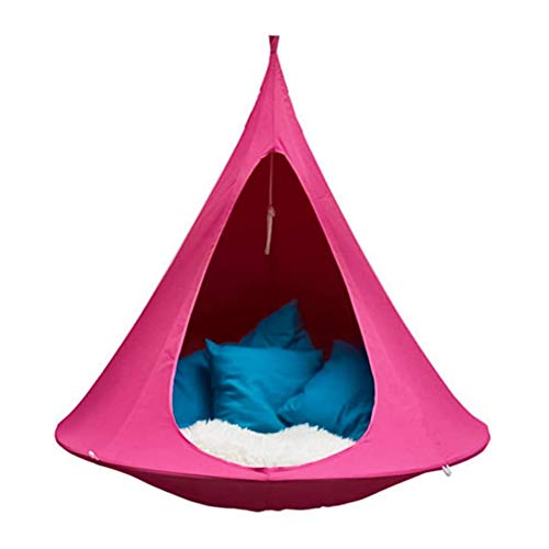 AFexm Hanging Swing Chair - UFO Shape Teepee Tree for Kids & Adults Indoor Outdoor Hammock,Pink