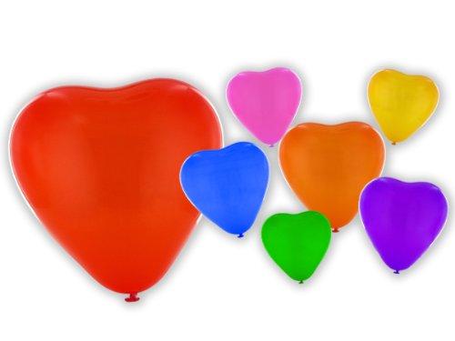 Alsino, hartvormige ballonnen, ballonnen, hartballonnen, bruiloft, feest, verjaardag, in diverse kleuren, 100 stuks