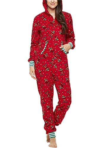 Family Matching Pyjamas Christmas Festival Onesie Fleece One Piece Hooded Jumpsuit Sleepwear Loungewear (Mom, S)