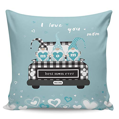 Square Throw Pillow Cover with Zipper for Girl/Boy/Kid/Couple/Couch/Chair/Bed/Dining/Living Room, Best Mom Ever Gnomes Heart Pattern Decorative Soft Short Plush Cushion Cover Pillow Case 18x18in