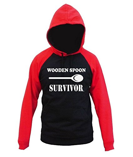 Wooden Spoon Survivor Men's Black/Red Raglan Baseball Hoodie Sweater 2X-Large Black