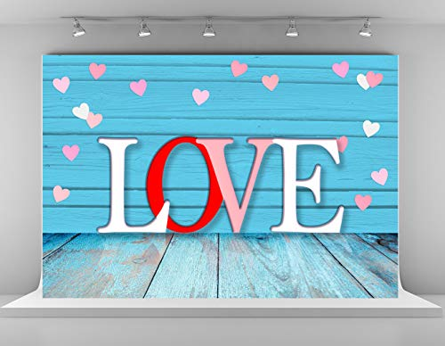 Kate 7x5ft Microfiber Happy Valentine's Day Backdrops for Photoshoot Rustic Wood Planks Photo Background Loves Wedding Birthday Party Decoration Backdrop Props