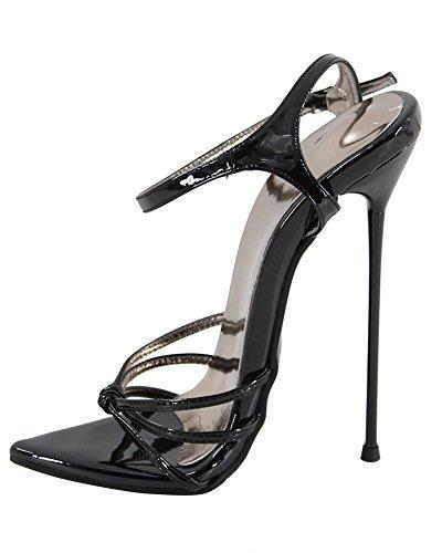 WONDERHEEL Damen Fetisch Pointed Toe Sandalen Schwarz 44 EU