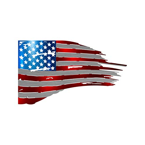 """Precision Metal Art Tattered Flag Steel Laser Cut Wall Art with a Vibrant Color American Flag Pattern 24"""""""