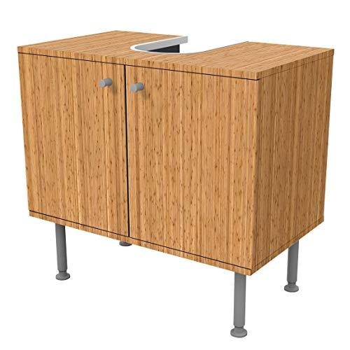 Bilderwelten Waschbeckenunterschrank Bambus Holzoptik Badschrank Beige Braun, 55cm x 60cm