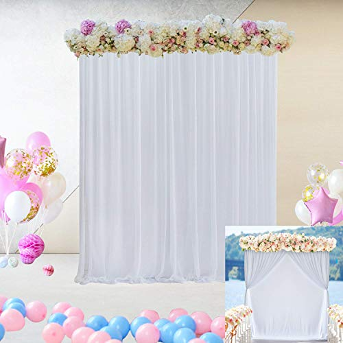White Tulle Decorative Backdrop Curtain for Parties Weddings Bridal Baby Shower Two Layers Backdrop Drapes Background Curtains for Photo Booth Birthday Party Decor 5 ft X 7 ft