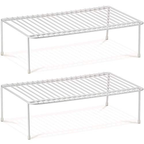 Watpot Kitchen Cabinet and Counter Shelf Organizer, Clear Stackable Storage Shelves for Kitchen Bathroom Bedroom Vanity Countertop 2 Pack