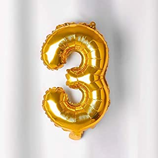 "Rozi Decoration Three Number Foil Toy Balloon 16"" Inch - Golden (Golden num 3)"