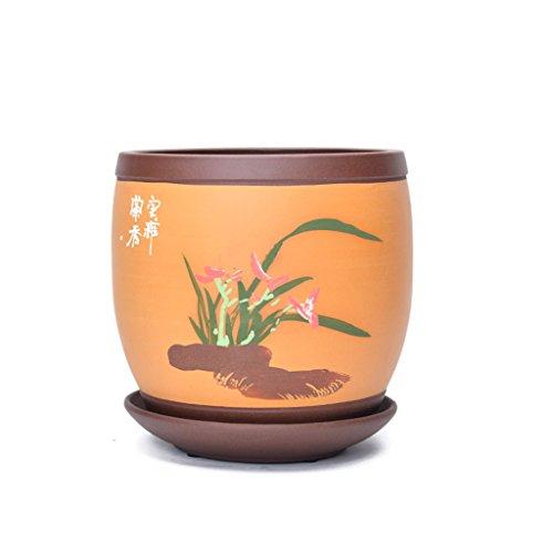 Pot de fleurs BOBE Shop 18 * 18 * 19 CM de Pot de Sable Violet avec Plateau pour Les Plantes succulentes en Pot (Couleur : #1)
