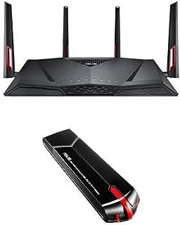 ASUS 高速無線ルーター ギガビットデュアルバンド2167+1000Mbps(11a/b/g/n/ac対応 )ゲーミング最適化機能 WTFAST RT-AC88U+ ギガビット高速Wi-Fi無線LAN子機 11ac/n/a/g/b対応 USB3.0アダプター型 USB-AC68