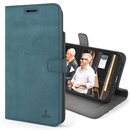Snakehive Vintage Wallet for Apple iPhone 13 Pro Max    Real Leather Wallet Phone Case    Genuine Leather with Viewing Stand & 3 Card Holder    Flip Folio Cover with Card Slot (Teal)